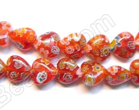 Glass Beads  -  Puff Heart - Red 16""