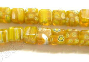 Glass Beads  -  Cubes - Lemon Yellow   16""