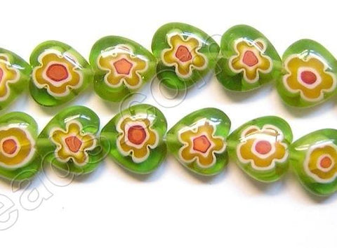 Glass Beads  -  Puff Heart - Green Flower  16""