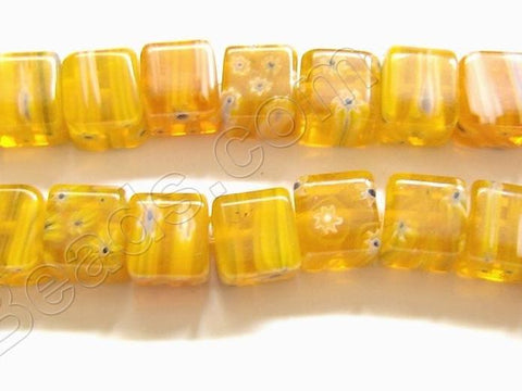 Glass Beads  -  Cubes - Orange Yellow   16""