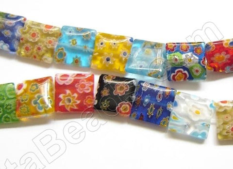 Glass Beads  -  Puff Square - Mixed  16""