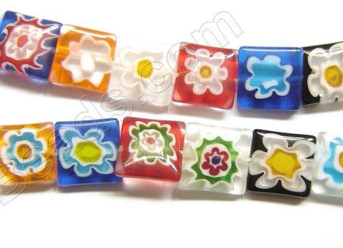 Glass Beads  -  Puff Square - Flower Mixed  16""