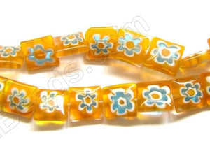 Glass Beads  -  Puff Square - Orange  16""