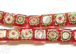 Glass Beads  -  Puff Square - Red   16""