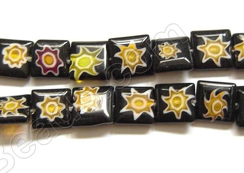 Glass Beads  -  Puff Square - Black  16""