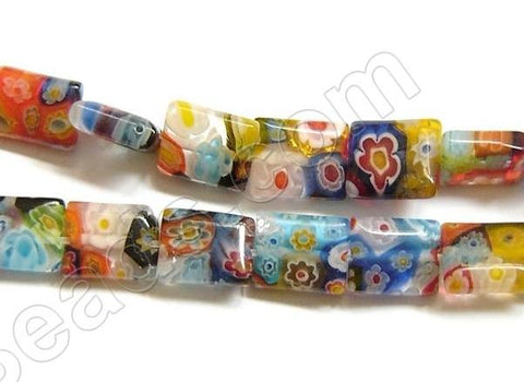 Glass Beads  -  Puff Rectangle - Rainbow  16""