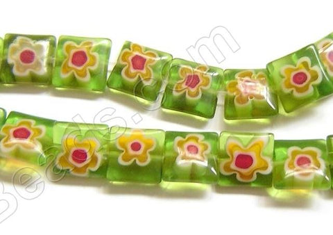 Glass Beads  -  Puff Square - Green  16""