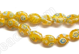 Glass Beads  -  Puff Oval - Yellow  16""