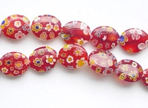Glass Beads  -  Puff Oval - Red  16""