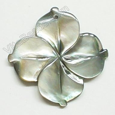 Carved Shell Pendant Grey 4 petals