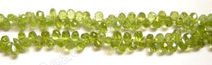Peridot  -  4-5mm Small Faceted Teardrop Head Drill  14""