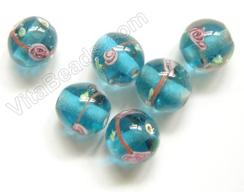 Lamp Work Glass Beads - Flower bdgl 519 - 9 Ocean Blue