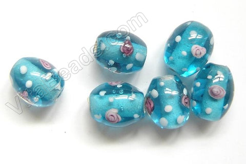 Lamp Work Glass Beads - Flower bdgl 531 - 25 Ocean Blue Drum