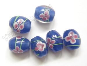 Lamp Work Glass Beads - Flower bdgl 534 - 101 Blue  Drum