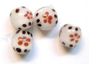 Lamp Work Glass Beads - Flower bdgl 240 - 4 White w/ Red Flowers