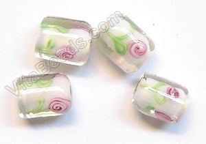 Lamp Work Glass Beads - Flower bdgl 545 - 10 White Cylinder