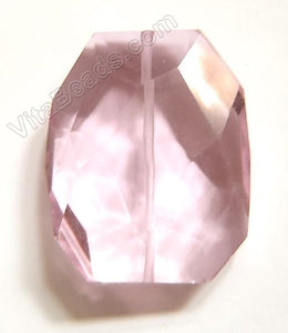 Pink Crystal Quartz - 30x35mm Faceted Nugget Pendant