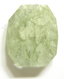 Faceted Nugget Pendant - Green Rutilate Qtz Cloudy Dark