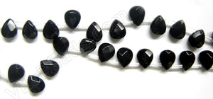 Black Onyx  -  8x10mm Faceted Flat Briolette  16""