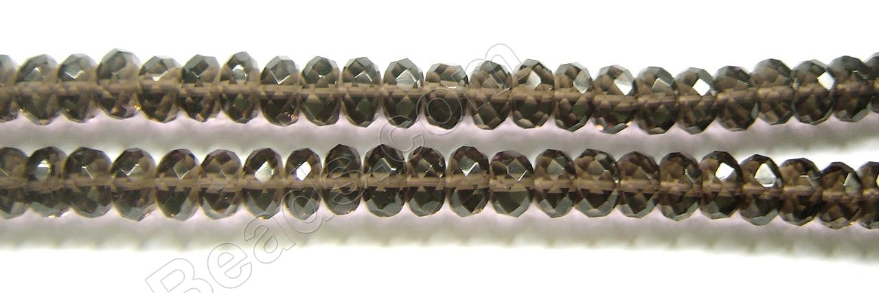 Smoky Topaz Natural AA - Faceted Rondel   16""
