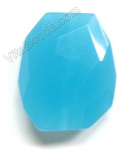 Dark Aqua Chalcedony Quartz - 30x35mm Faceted Nugget Pendant