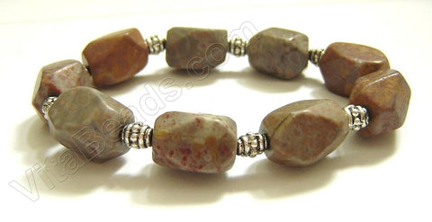 Faceted Nuggets Bracelet  Fossilized Agate