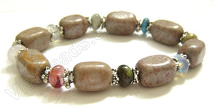 Smooth Nuggets Bracelet  Fossilized Agate