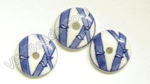 Porcelain Beads - Blue &. White   22.5 mm Coin, Button w/ Bamboo Design