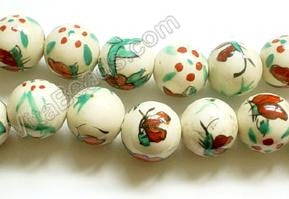 Porcelain Beads - White w/ Red butterfly   12 mm Round Beads