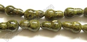 Porcelain Beads - Turquoise Look - Yellow 10x18mm Gourd