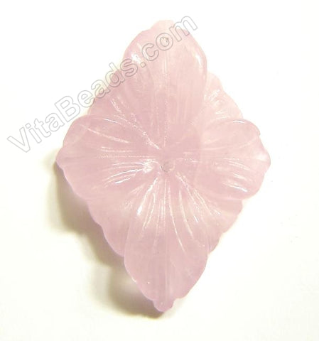 Rose Quartz Pendant Carved Diamond Flower