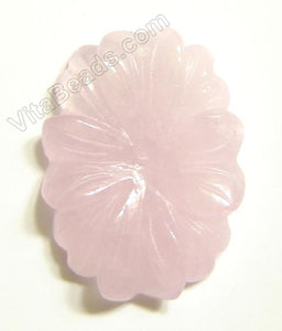 Rose Quartz Pendant Carved Oval Flower