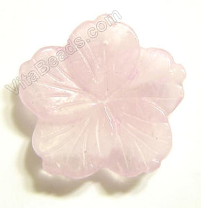 Rose Quartz Pendant Carved 5-petals Flower