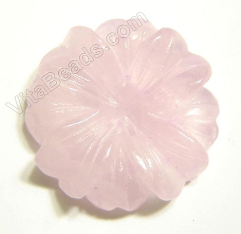 Rose Quartz Pendant Carved 8-petals Flower