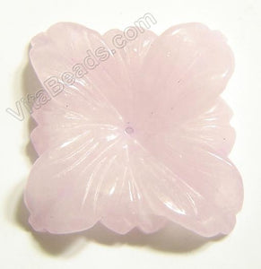 Rose Quartz Pendant - Carved 4-petals Square Flower
