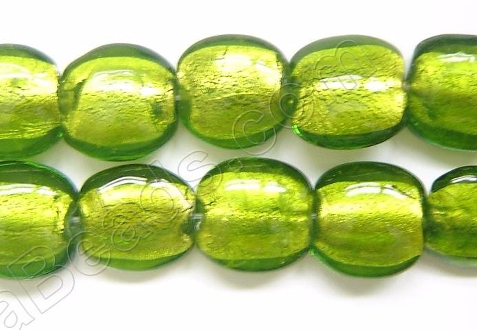 "Silver Foil Glass Beads   16"" Puff Coin - Lime Green"
