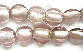 "Silver Foil Glass Beads   16"" Puff Coin - Light Lavender"