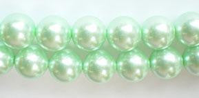 Glass Pearl   -  Green -  Smooth Round Beads  16""