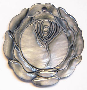 Carved Shell Pendant Round Rose - Grey