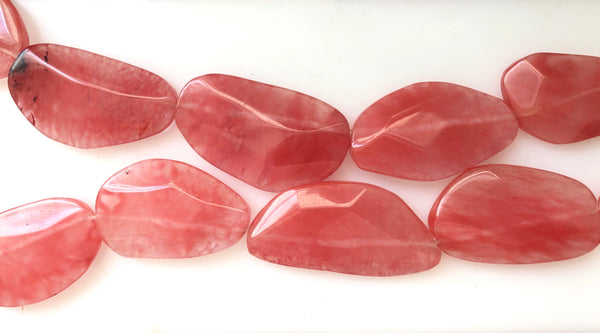 Cherry Quartz - Irregular Faceted Flat  16""