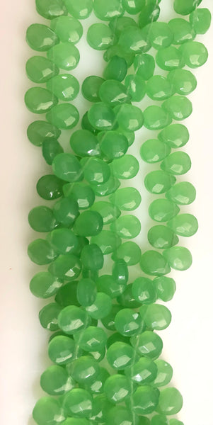 Green chalcedony Quartz  -  9x12mm Faceted Flat Briolette  10""
