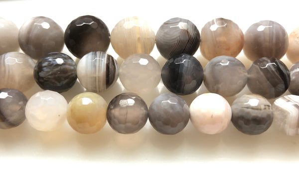 Botswana Agate Light  -  Faceted Round   16""