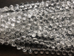 Clear Crystal Quartz  -  9x12mm Faceted Flat Briolette  10""