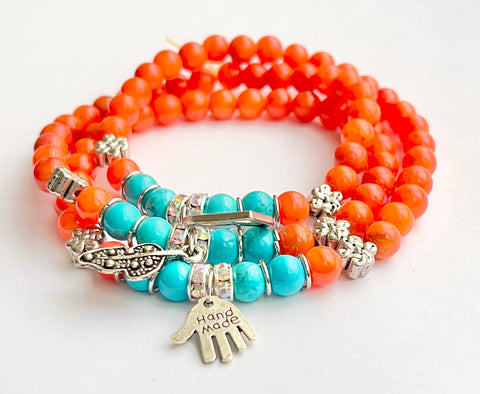 Smooth Round Beads Bracelet - Orange Coral Jade, Blue Turquoise  w/ Charms Length:  21""