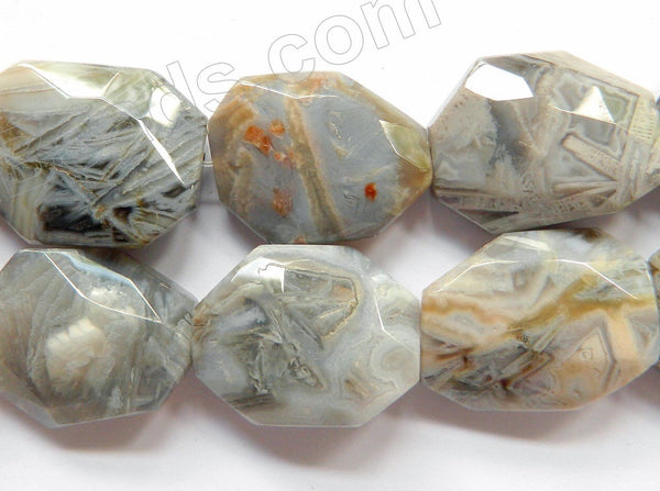 Grey Bamboo Leaf Jasper  -  Irregular Faceted Flat Nuggets  16""
