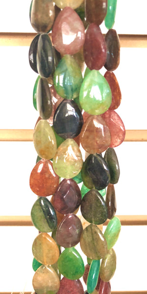 Mixed India Green Aventurine  -  Puff Drops 16""