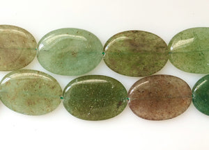 India Green Aventurine  -  Big Puff Ovals  16""