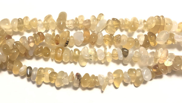 Natural Light Yellow  Agate A  -  Small Chip Nuggets  16""