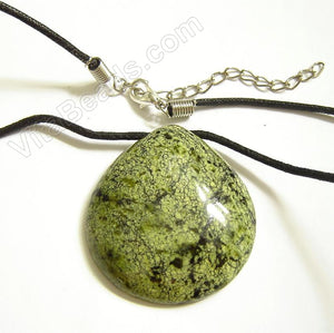 Semi Stone Almond Shape Necklace - Russian Jade