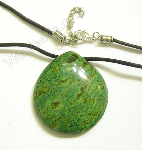 Semi Stone Almond Shape Necklace - Green Turquoise (Light)